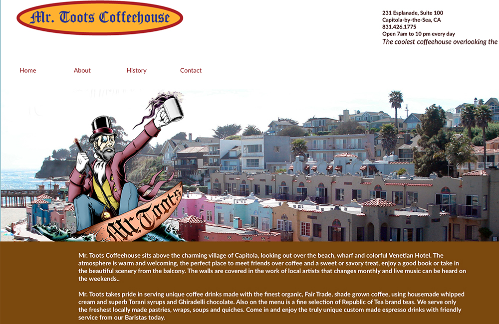 Website design for Mr. Toots Coffeehouse